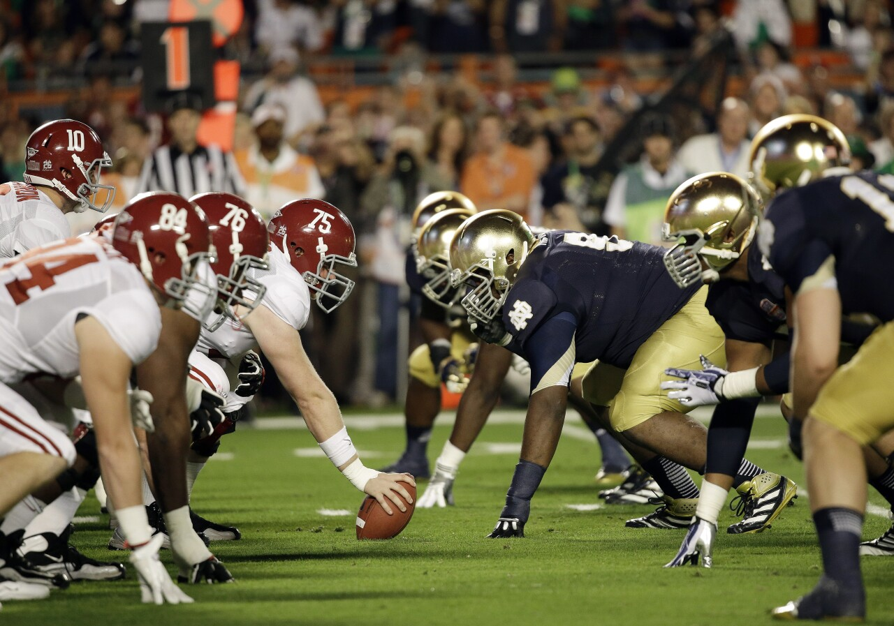 Alabama Crimson Tide vs. Notre Dame Fighting Irish in 2013 BCS National Championship