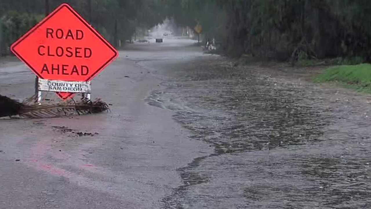 San Diego County road closures due to flooding