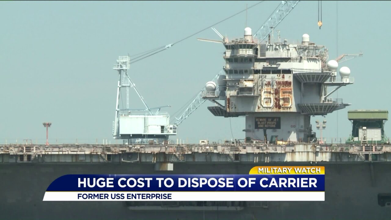 Getting rid of the former USS Enterprise could cost the Navy more than $1.5billion