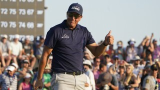 Phil Mickelson celebrates after winning 2021 PGA Championship