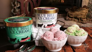 From Blue Bell Ice Cream: Christmas Cookies Ice Cream, back by popular demand, is your favorite holiday cookies – chocolate chip, snickerdoodle and sugar – combined in a tasty sugar cookie ice cream with red sprinkles and a green icing swirl throughout.