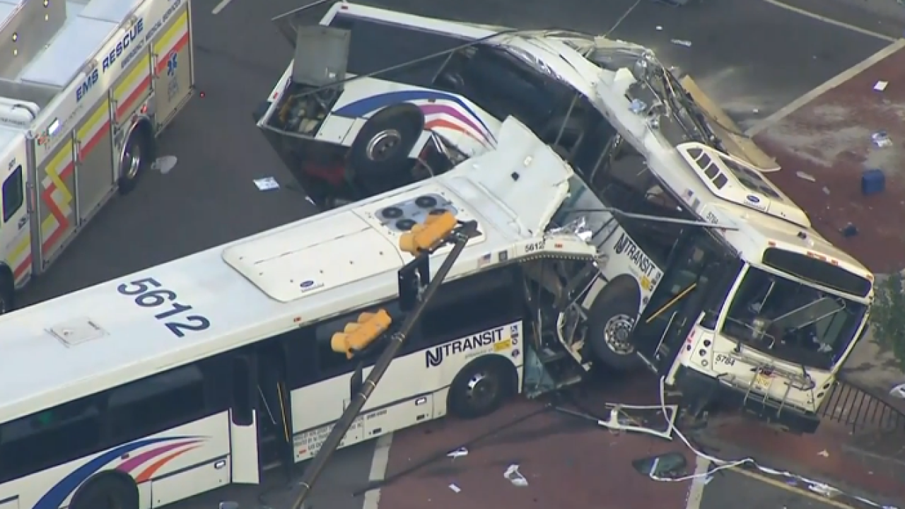 New Jersey Transit driver killed, 7 passengers critically injured when buses collide in Newark
