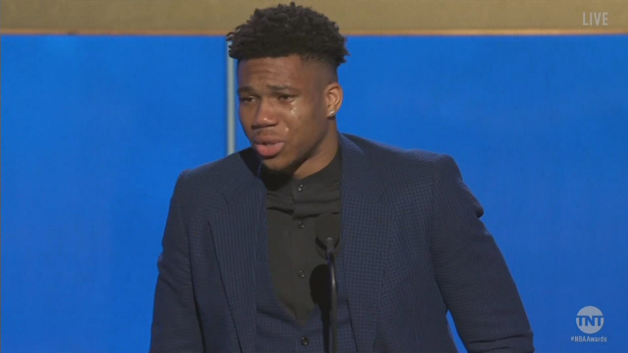 Giannis Antetokounmpo gets emotional as he receives NBA MVP award