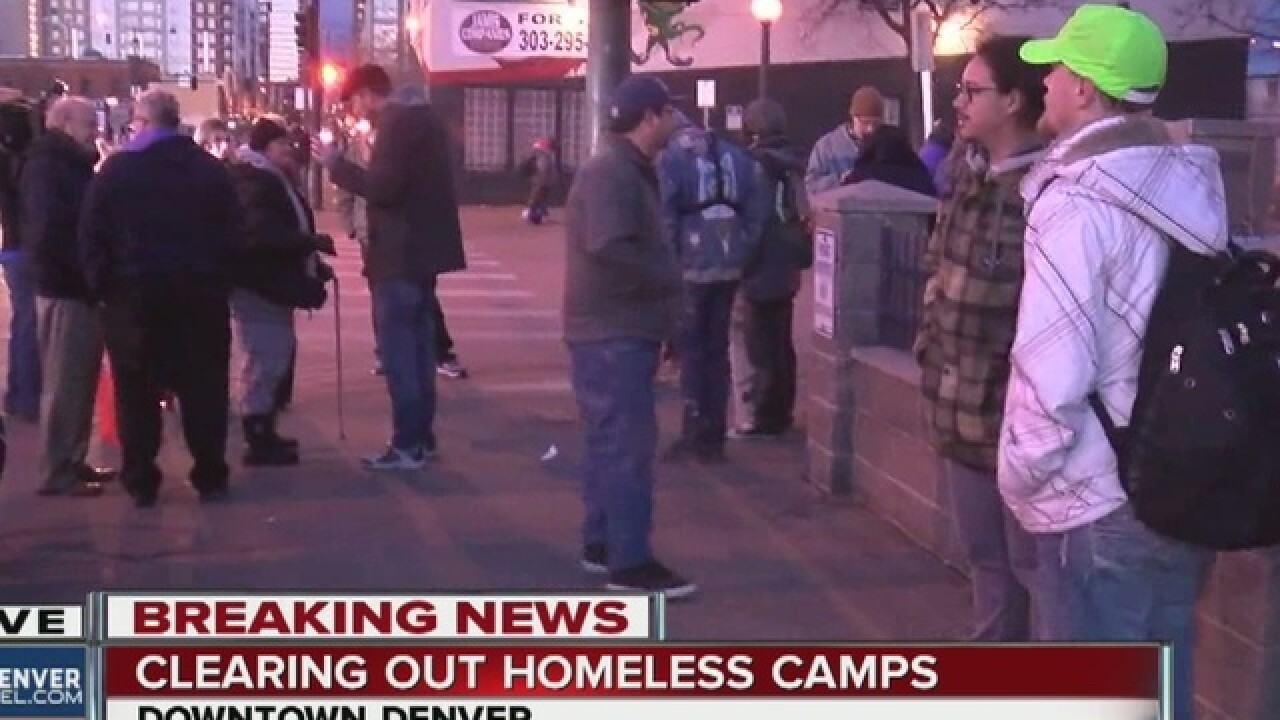 Homeless sweep: Protesters rally before sunrise