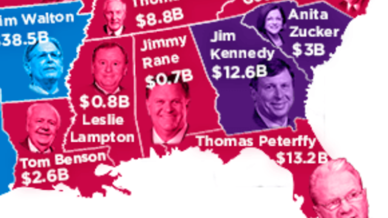 This map shows the richest person in every state