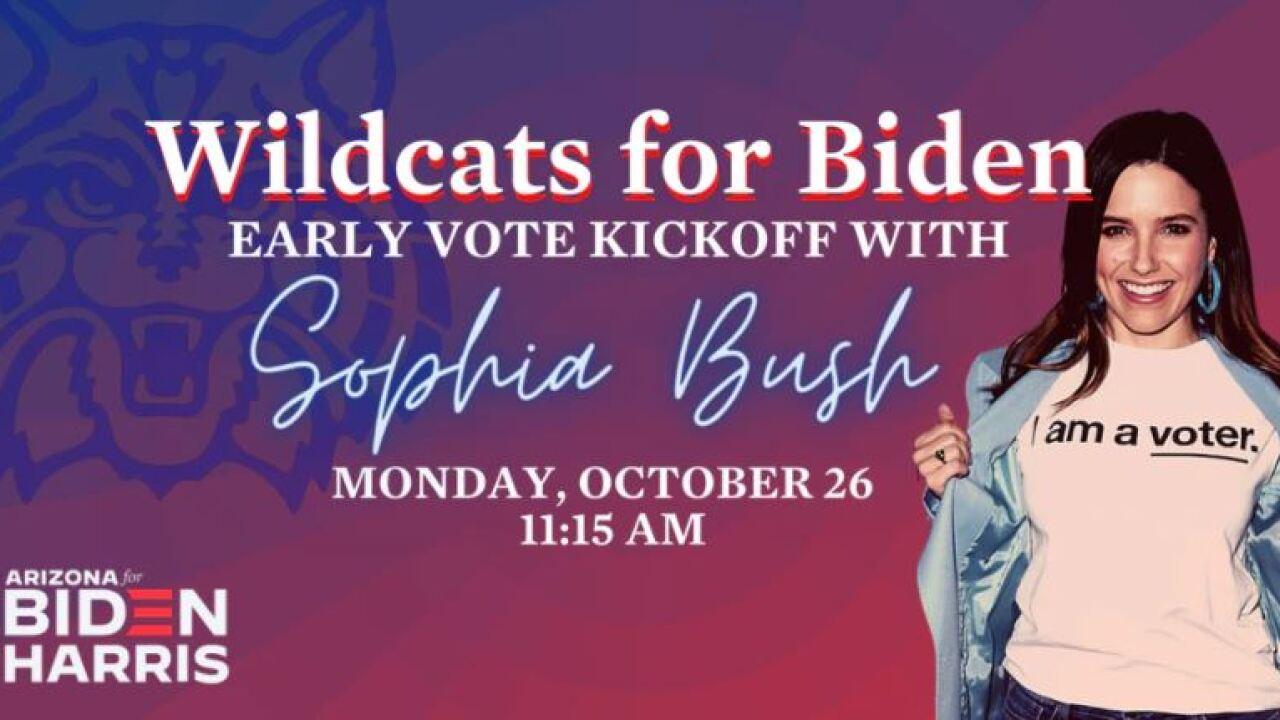 Actress Sophia Bush campaigned in Tucson Monday on behalf of Joe Biden's presidential campaign.