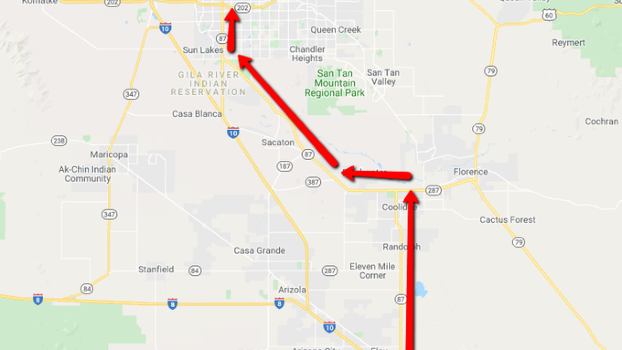 Traffic: Expect long delays on I-10 south of Phoenix, as well as on I-17