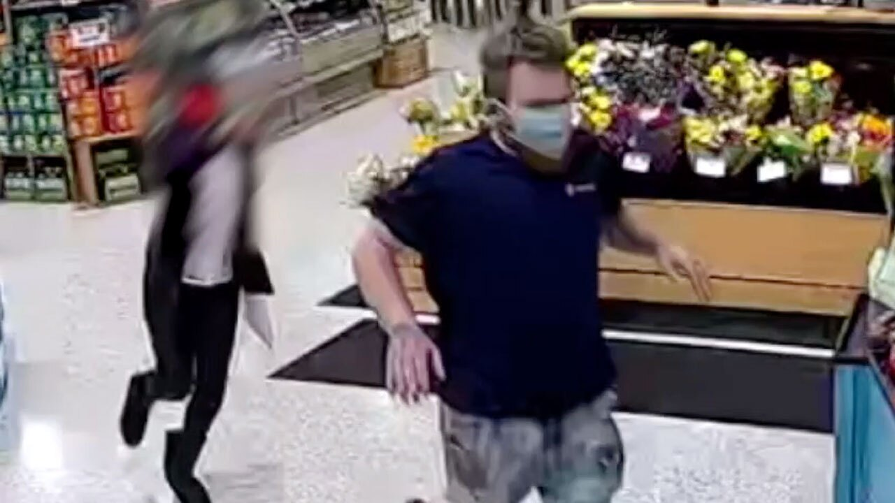 Surveillance video of Publix peeping Tom chased by victim