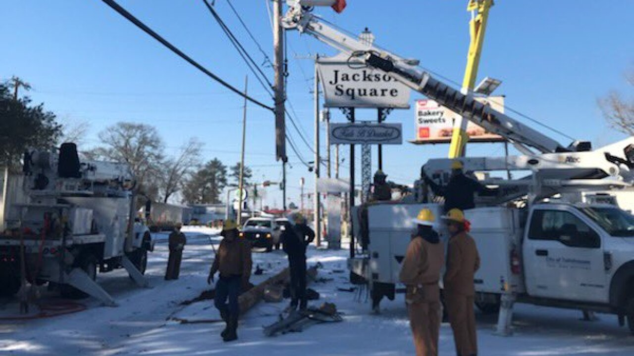 City of Tallahassee crews providing power to residents in Lousiana following damage from the recent winter storm.