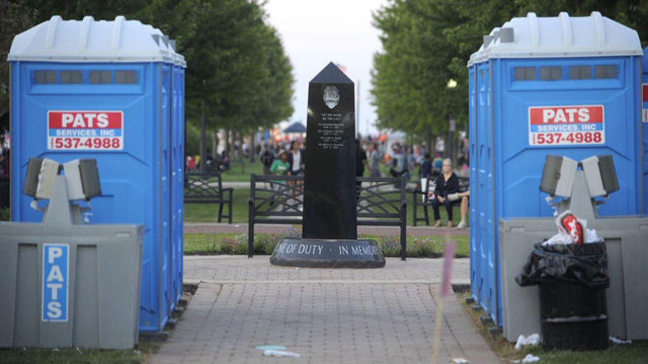 Widow upset about porta potties on monument