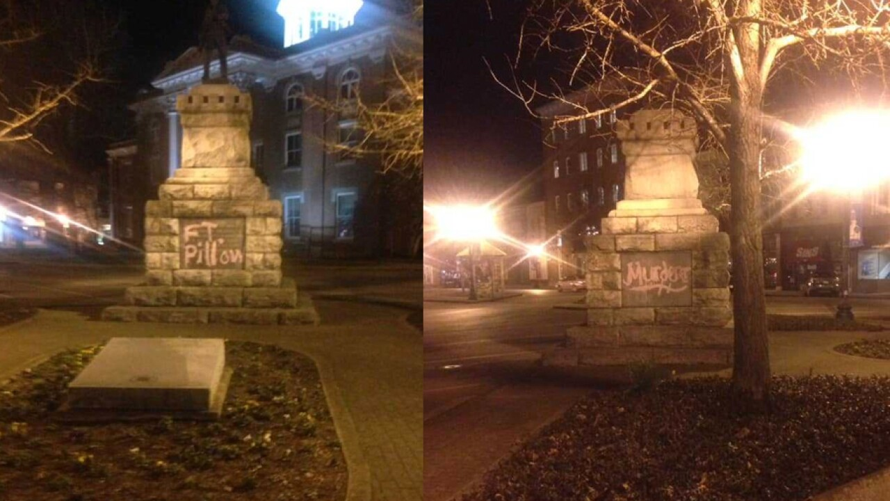 Confederate statue in Tennessee vandalized with words 'murderer' and 'coward'