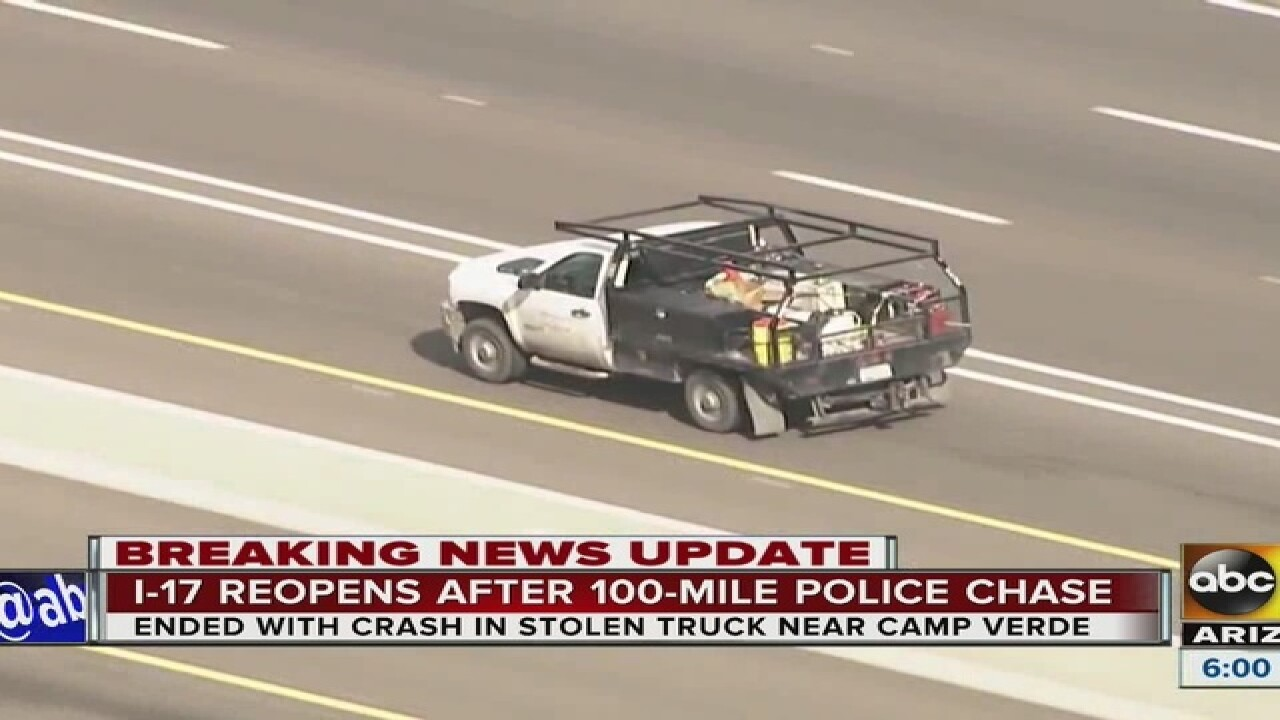 phoenix car chase: multiple agencies pursue truck stolen in gilbert