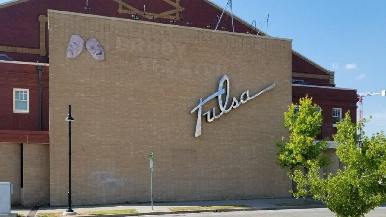 Tulsa Theater 1952 steel sign