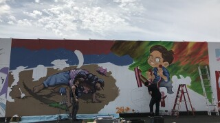 See some of the artwork going up near the Central 70 project