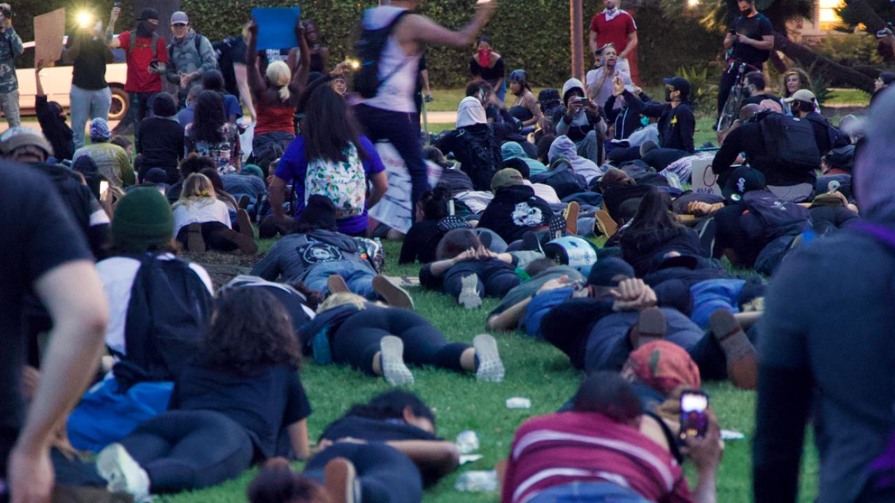 Demonstrators in Balboa Park