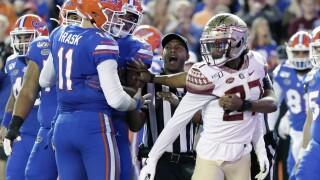 Argument between Florida Gators QB Kyle Trask and Florida State Seminoles defensive back Akeem Dent in 2019