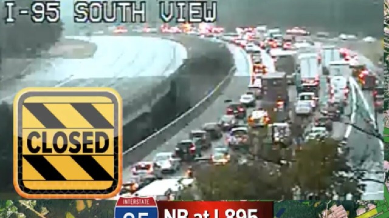 Crash involving 2 tractor-trailers, dump truck, and 6 cars shuts down I-95