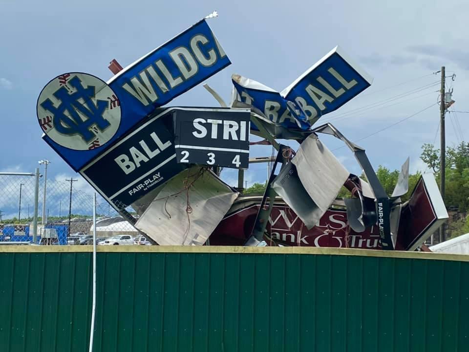 wilson central baseball field damage