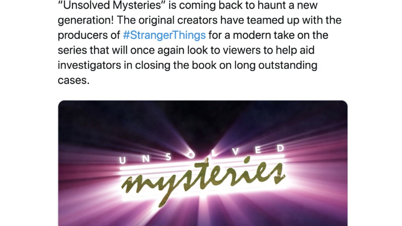 Netflix to bring back true crime show 'Unsolved Mysteries'
