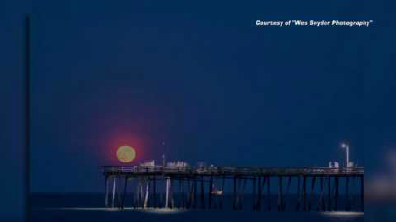 Watch: Beautiful time-lapse of moon rising over Nags Head Fishing Pier