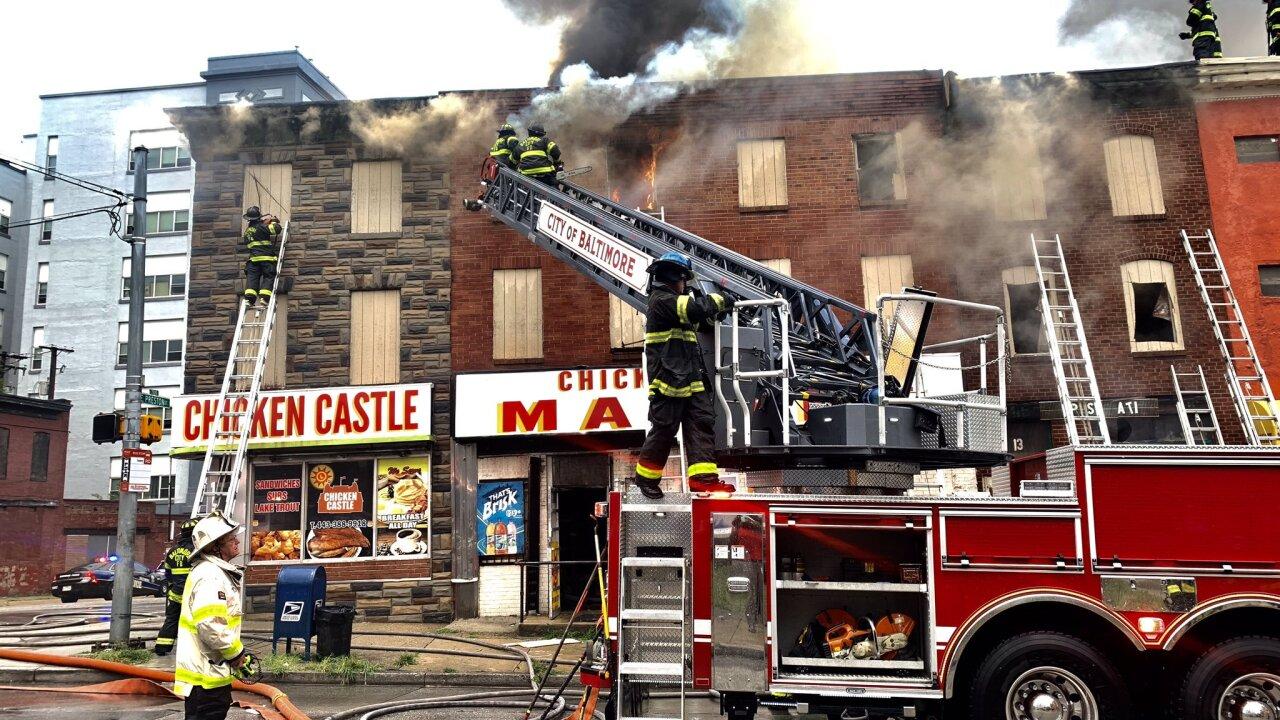 Lightning strike causes 3 alarm fire in East Baltimore
