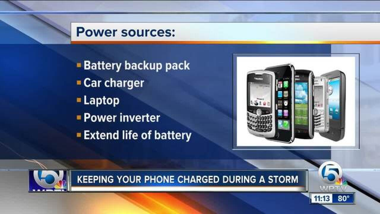 Advice on keeping your phone charged during a storm
