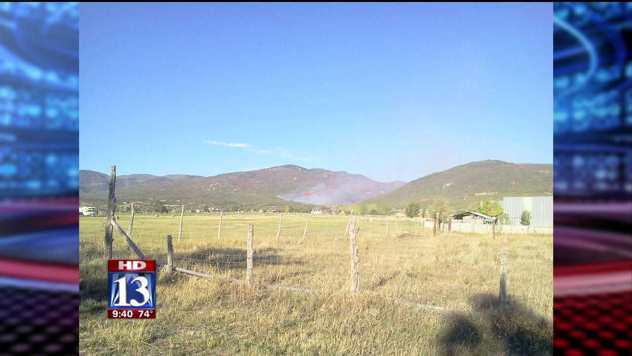 Fire burning in Fairview Canyon, Sanpete County