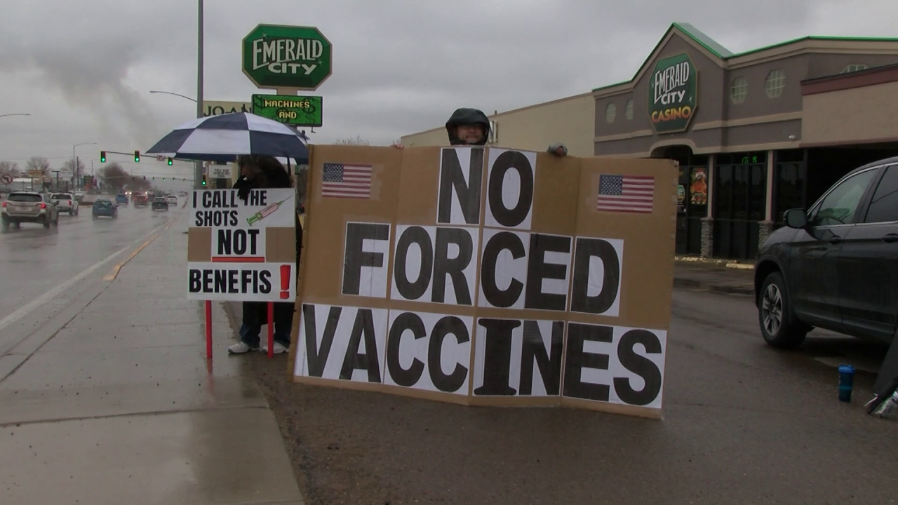 Several protesters rally against Benefis COVID vaccination policy