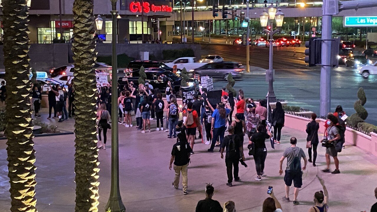 Protesters took to the streets in Las Vegas Thursday, Sept. 24 on Day 2 following the Breonna Taylor grand jury decision in Louisville.