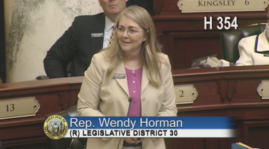 Rep. Wendy Horman speaks in front of Idaho House