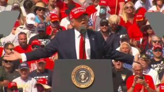 President Donald Trump berates media during Tampa rally, Oct. 29, 2020