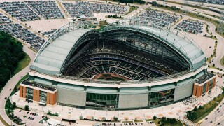 Aerial picture of American Family Field, previously known as Miller Park.