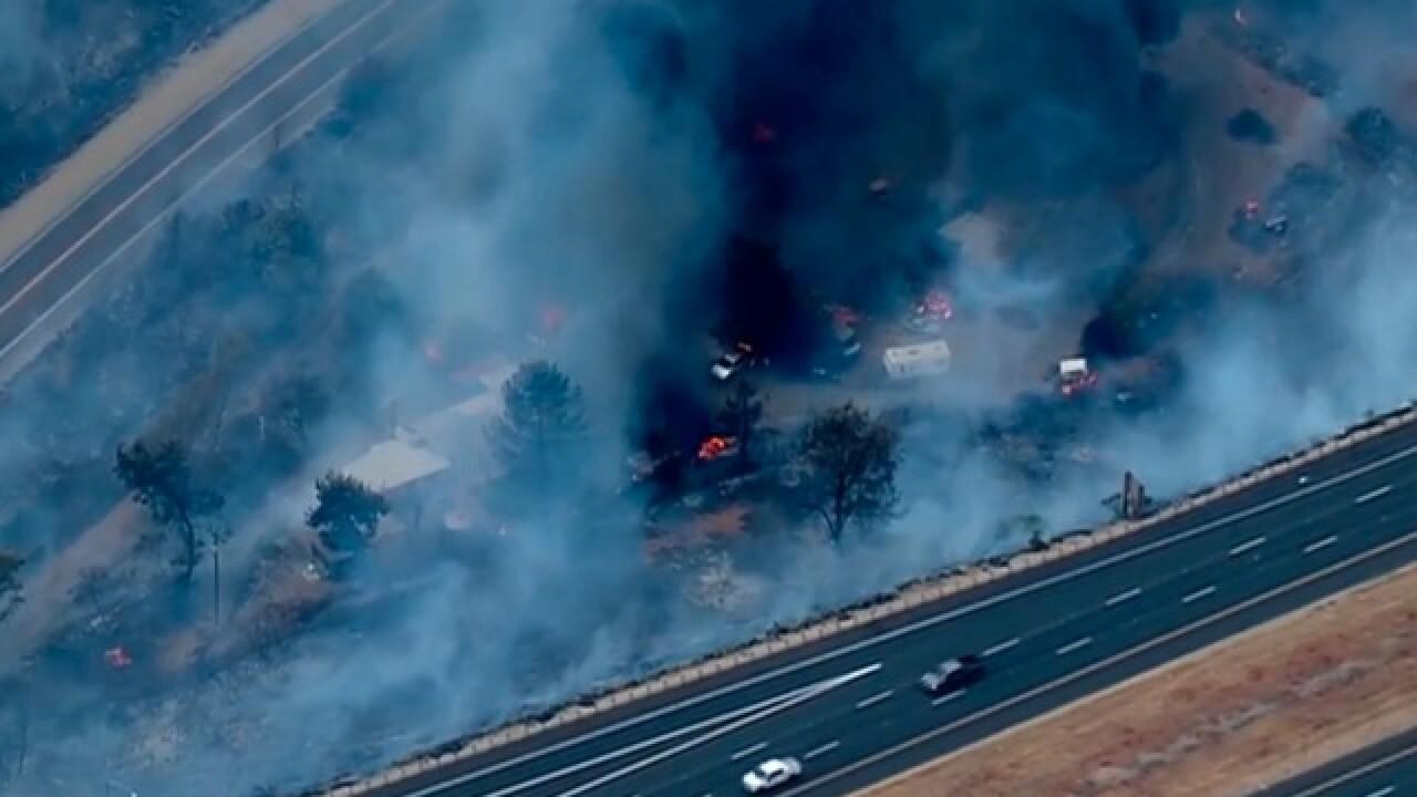 Brush fire breaks out near I-8 in Alpine