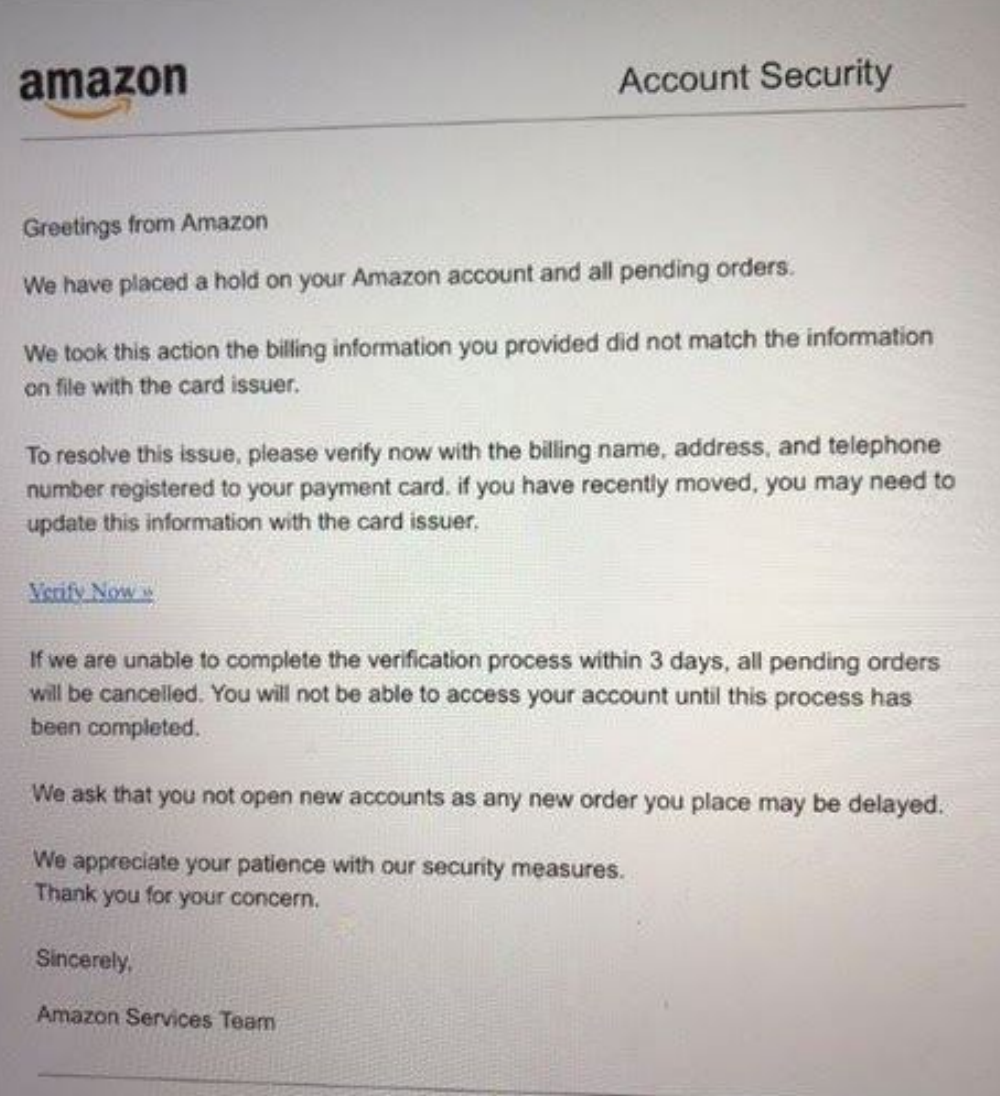 One example of an identity theft scam. This is NOT from Amazon.