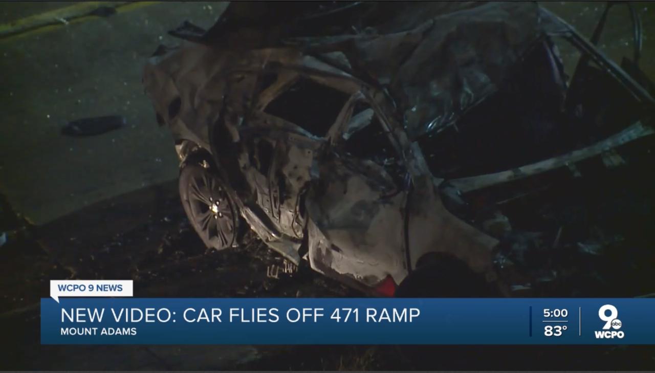 Car flies off 471 - still image