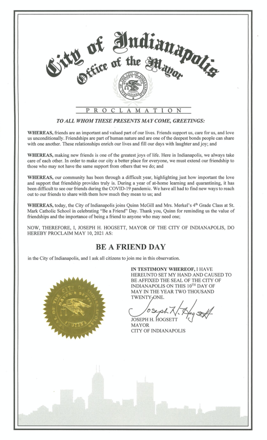 """Indianapolis Mayor Joe Hogsett signed a proclamation for """"Be a Friend Day."""""""