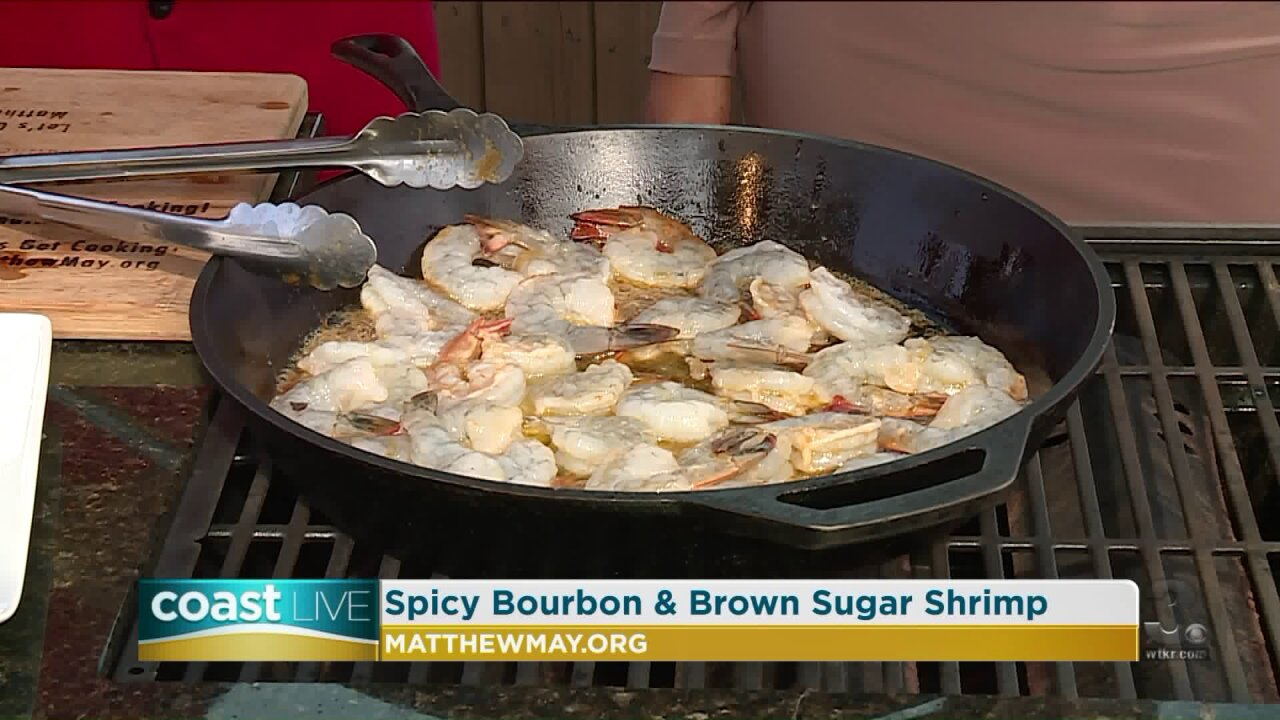 A little bourbon for flavor on the grill with Chef May on Coast Live