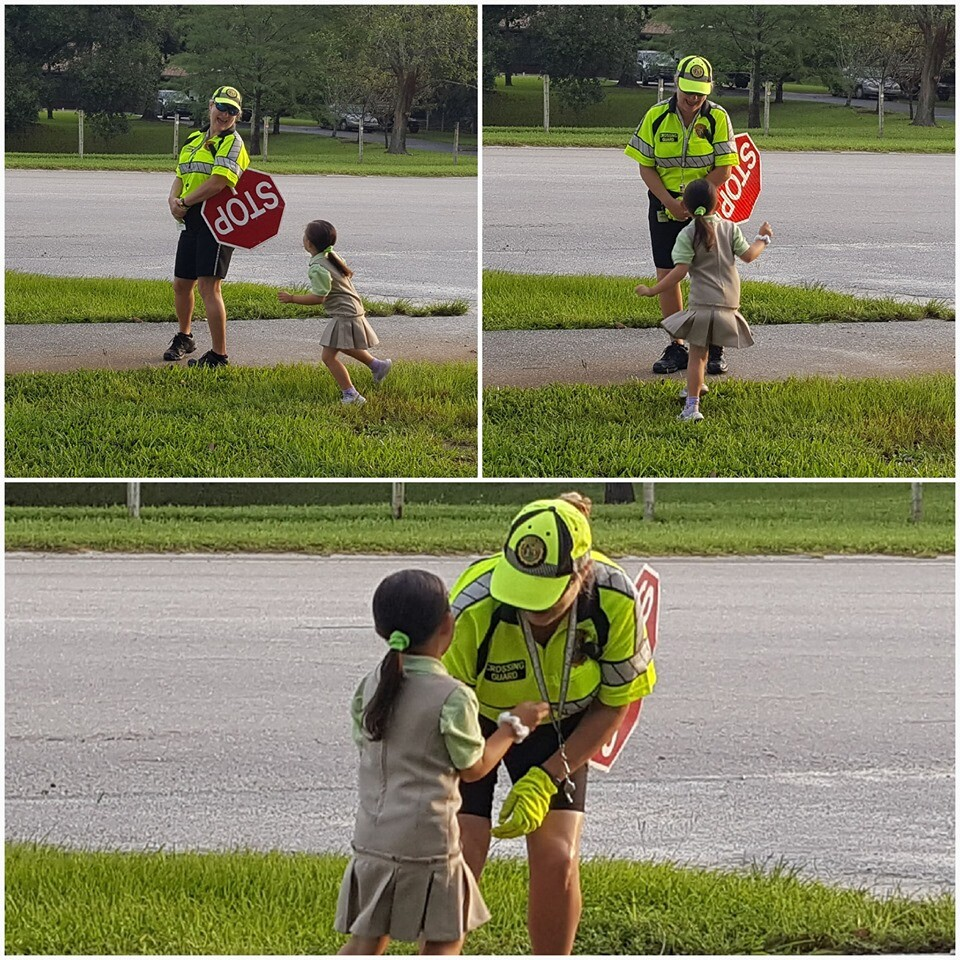 When it's your 5th Birthday, 1st day of Kindergarten, and you are so happy to see School Crossing Guard, Ms. Marcey, in the Acreage!