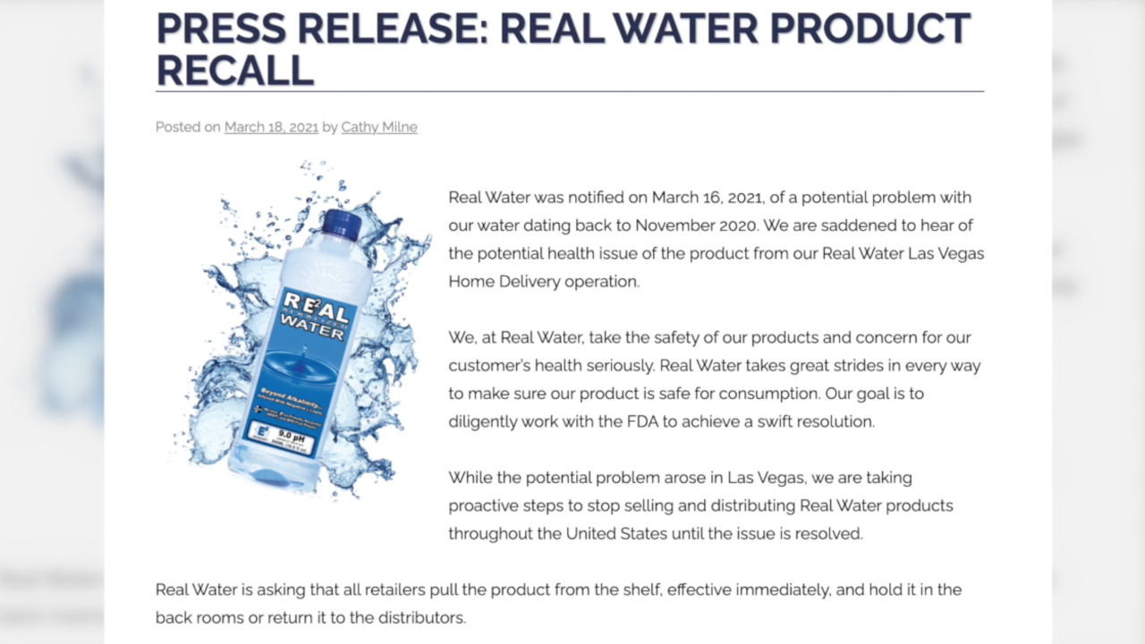 FDA warns Real Water still advertising, available for purchase online