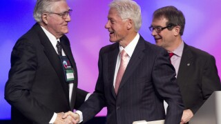 Owen Bieber UAW with Bill Clinton