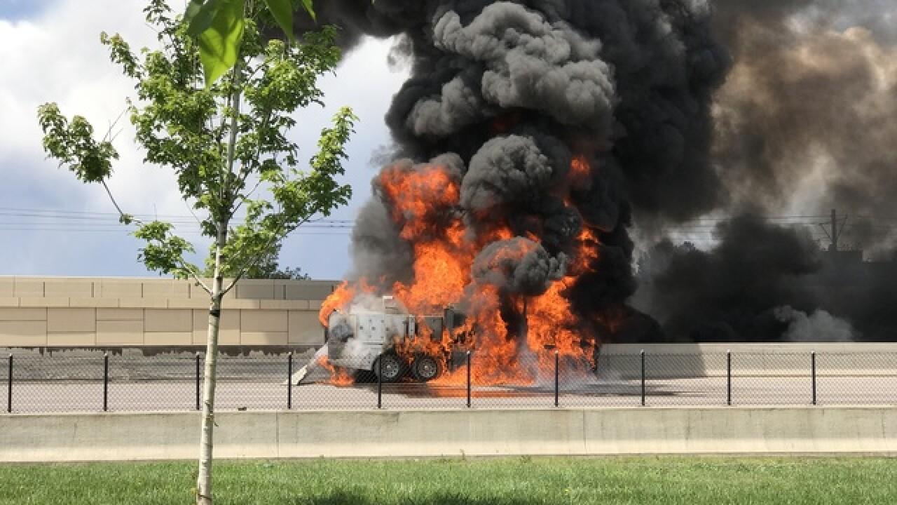 Massive vehicle fire closes I-25 in Tech Center