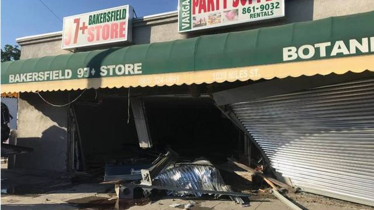Vehicle goes into building after accident