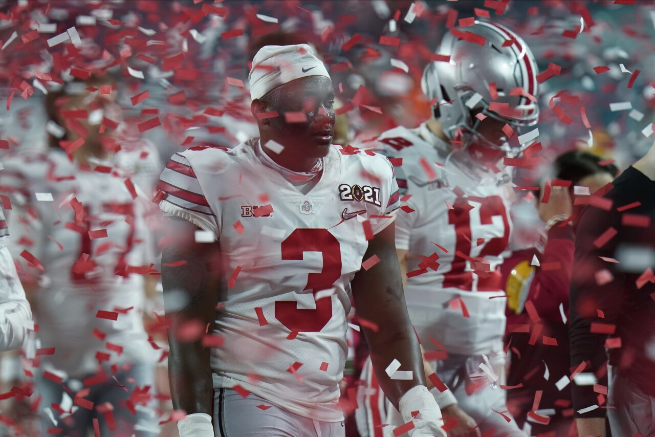 Ohio State Buckeyes walk off field after losing to Alabama Crimson Tide in 2021 College Football Playoff National Championship