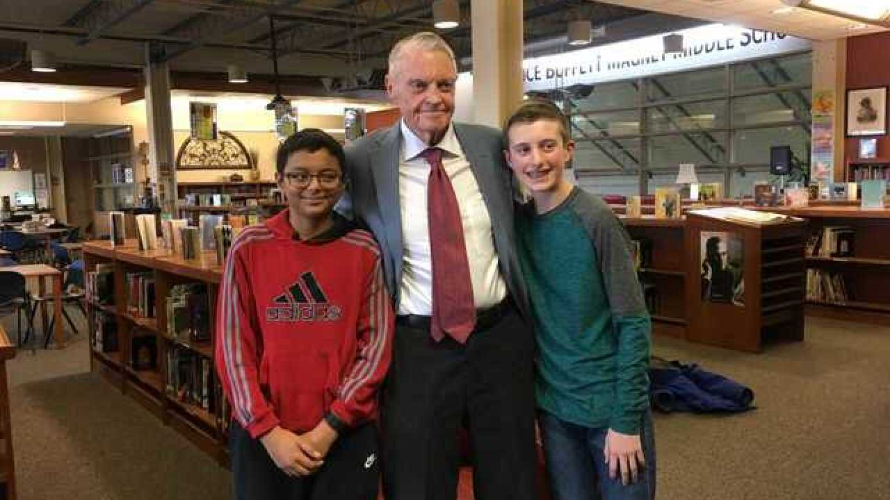 Middle schoolers interview Tom Osborne