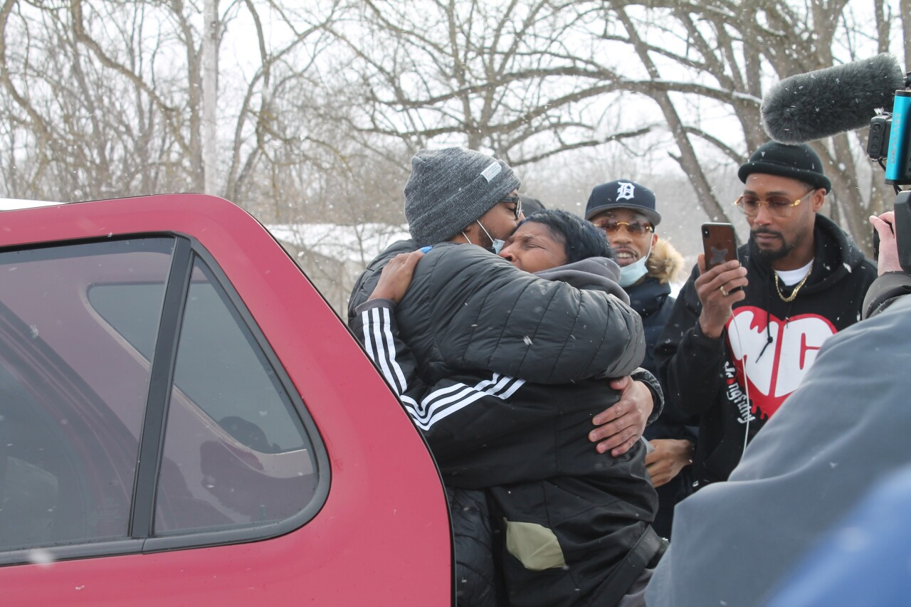 Kenneth Nixon hugs his mother after being released from prison after 16 years.