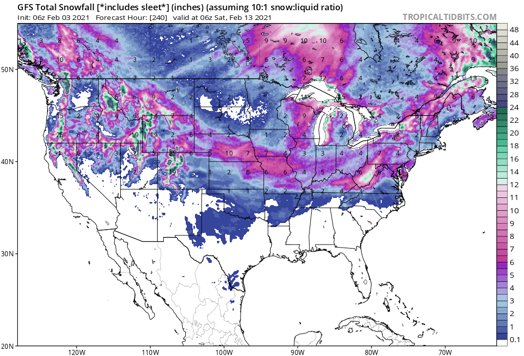 Snowfall Forecast From The American Model Next Ten Days