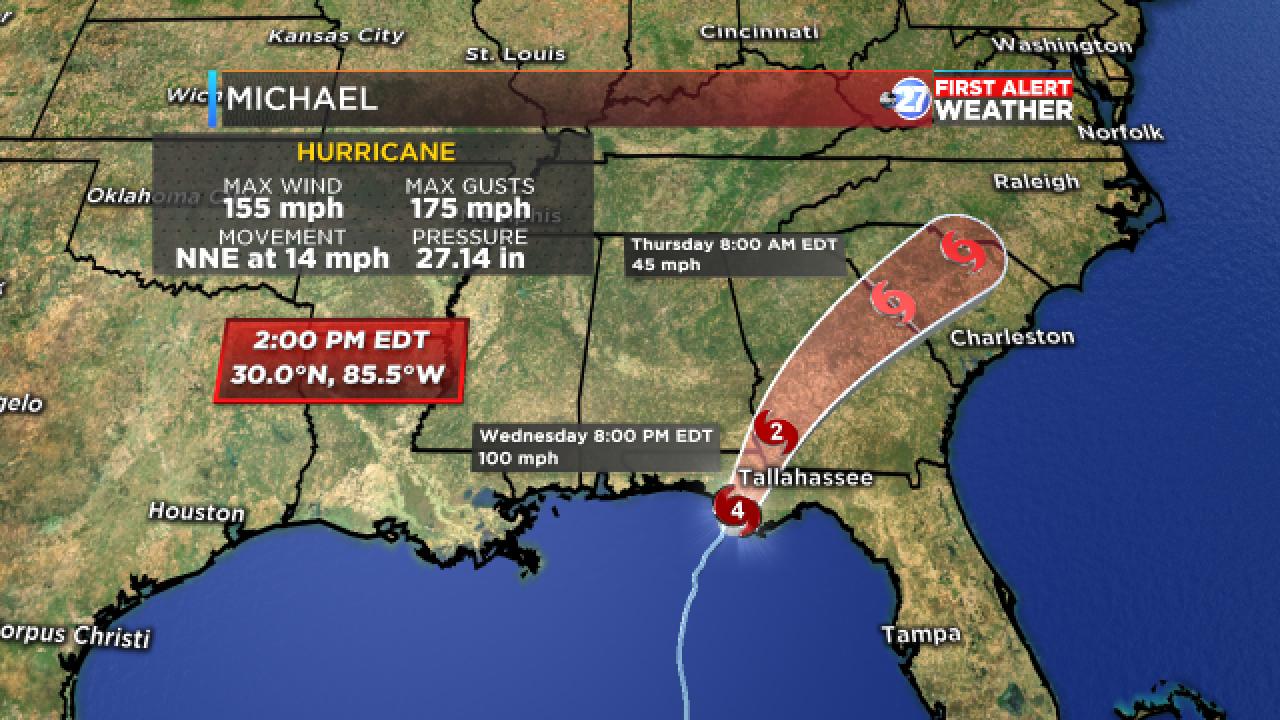 Hurricane Michael track (2:00 pm, 10/10/18)