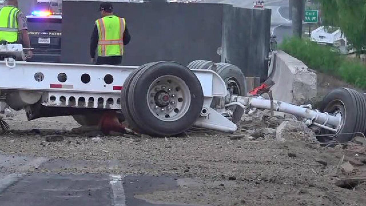 Truck crashes on SR-125 in La Mesa, sends massive cement block onto lanes