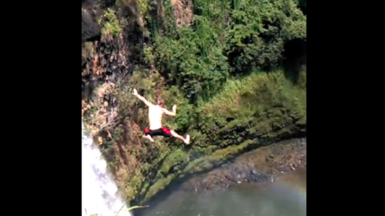 WATCH: Waterfall jumper passes out upon landing