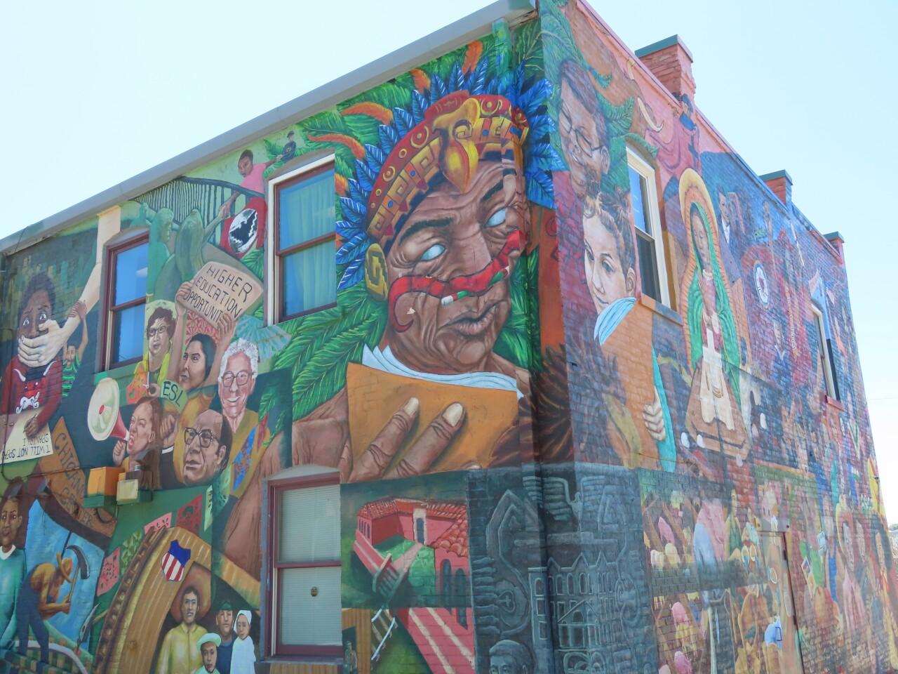 Mural celebrating South Omaha's immigrant history.JPG